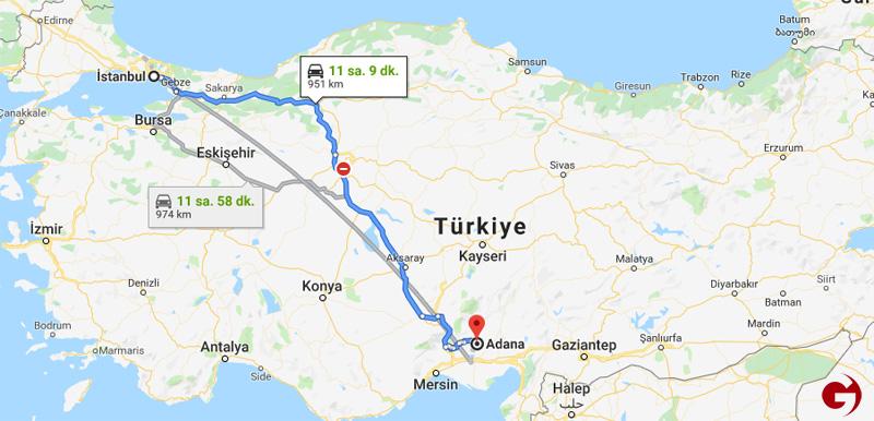 İstanbul - Adana arası mesafe bilgileri