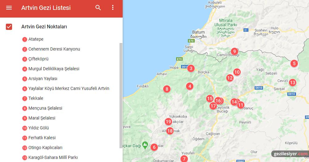 Artvin Gezi Haritası