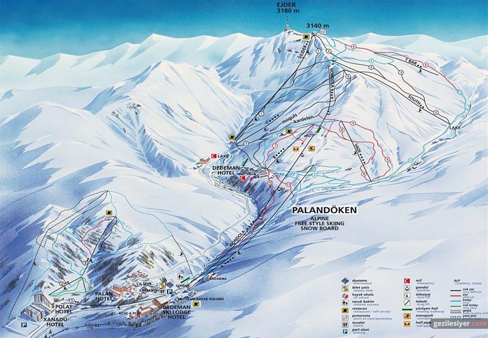 Palandöken Kayak Merkezi Pist Haritası