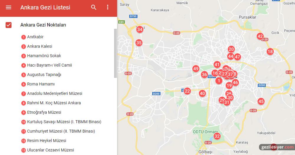 Ankara Gezi Haritası