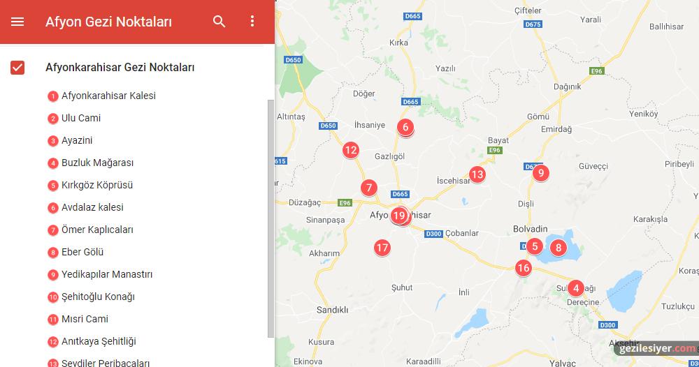 Afyonkarahisar Gezi Haritası