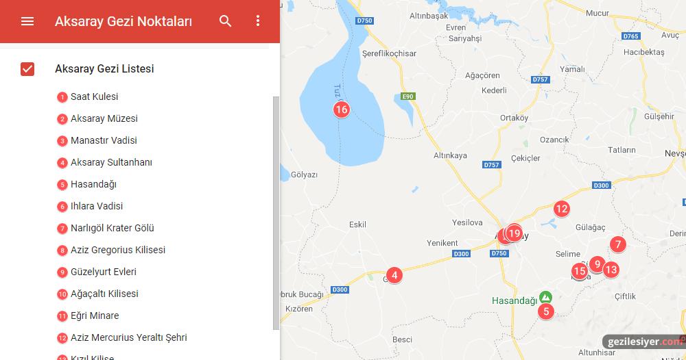 Aksaray Gezi Haritası