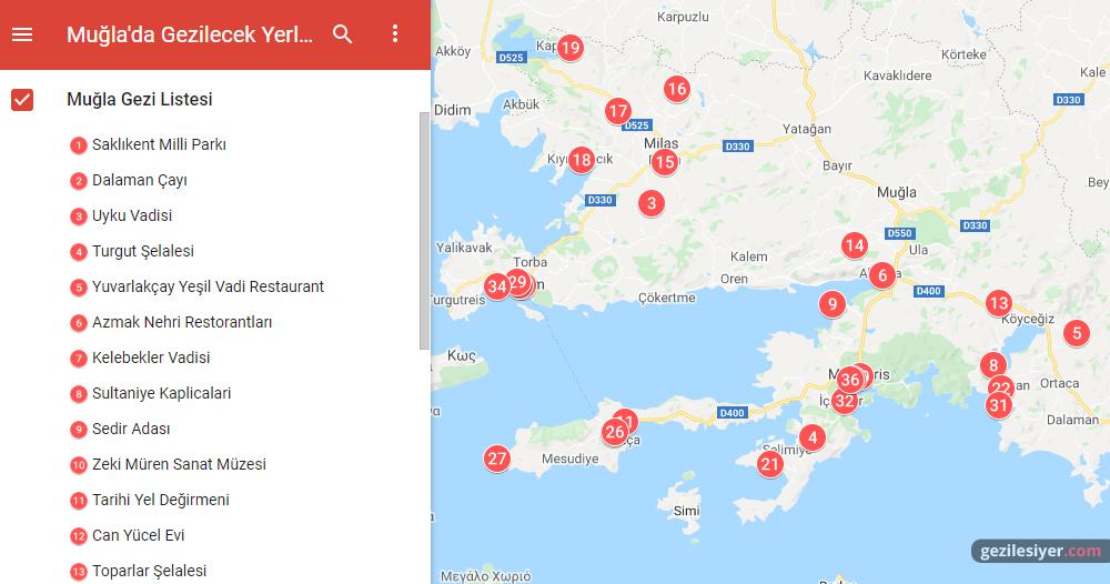 Muğla Gezi Haritası