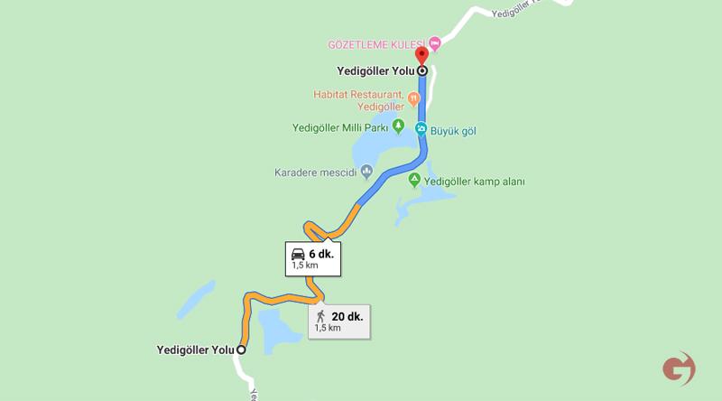 Yedigöller Milli Parkı haritası