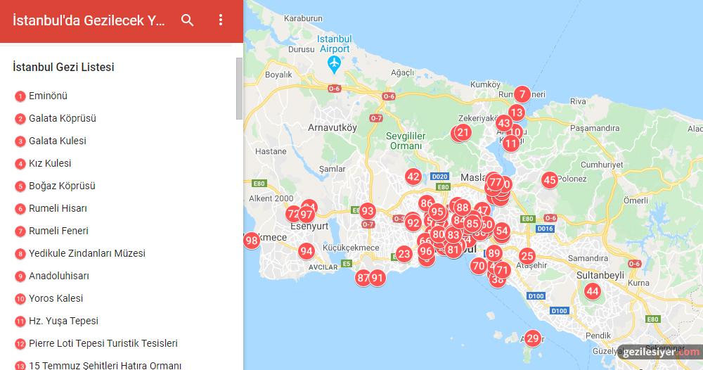 İstanbul Gezi Haritası