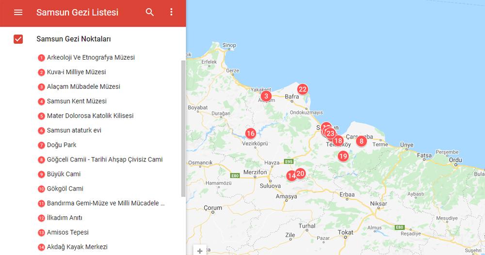 Samsun Gezi Haritası